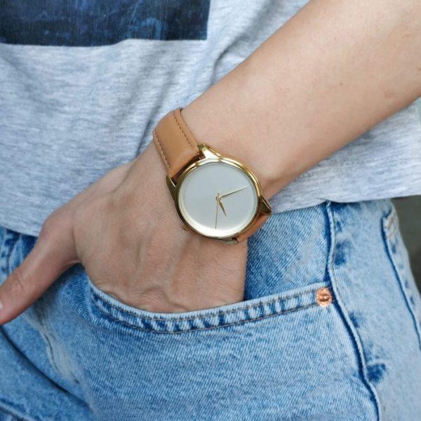 Часы наручные «Минимализм» карамельно - коричневый