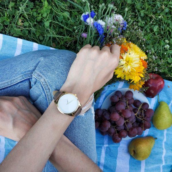 Часы наручные «Минимализм» серо - коричневый
