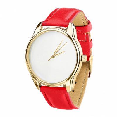 Часы наручные «Минимализм» маково - красный