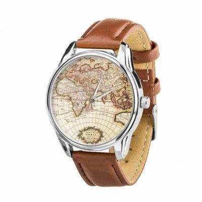 Часы наручные ZIZ «Карта» кофейно - шоколадный, серебро