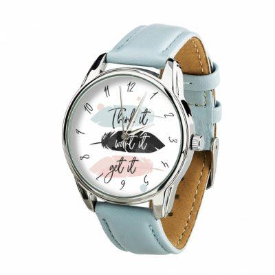 Часы наручные ZIZ «Думай Желай Получай» нежно - голубой, серебро