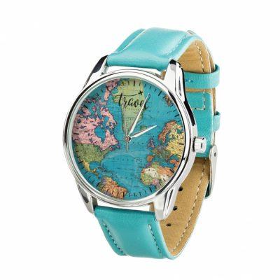 Часы наручные ZIZ «Карта» ремешок небесно - голубой, серебро