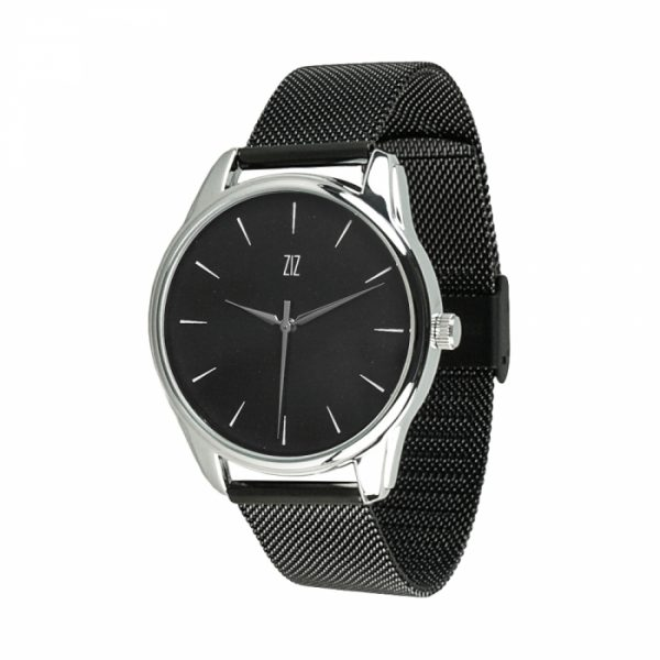 Часы наручные «Белым по черному» нержавеющей стали черный