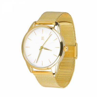Часы наручные «Золотым по белому» нержавеющей стали золото