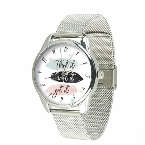 Часы наручные ZIZ «Думай Желай Получай» нержавеющей стали серебро