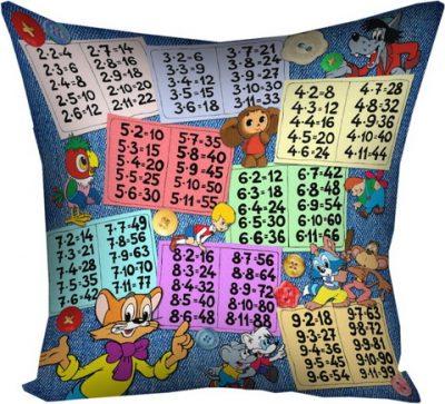 Подушка с принтом 40х40 см «Таблица умножения»