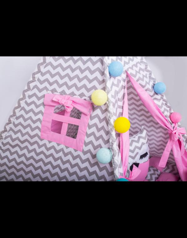 Вигвам Хатка комплект бонбон «Мечта» розовый с серым