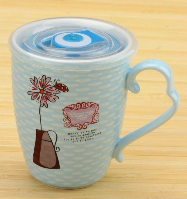 Чашка заварочная «Цветок с таймером» (голубая)