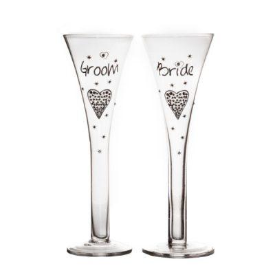 Набор бокалов для шампанского «Жених и невеста» в подарочной упаковке 300 мл