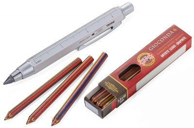 Механический карандаш Troika Construction Zimmermann с линейкой, белый