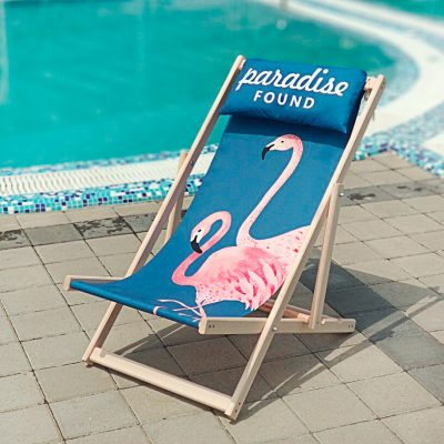 Шезлонг деревянный «Paradise found» Фламинго
