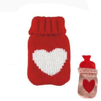 Грелка в вязаном чехле, красная