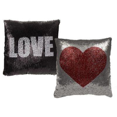 Подушка антистресс с пайетками-перевертышами «Red heart & white Love»