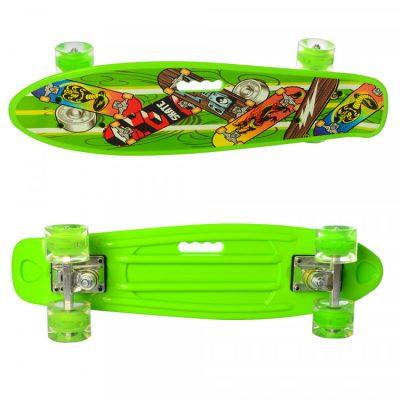 Детский скейт пени борд MAXLEND с ручкой и светящимися колесами (MS 0749-6/св.зеленый)