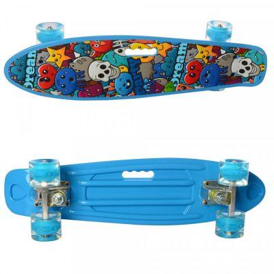 Детский скейт пени борд MAXLEND с ручкой и светящимися колесами (MS 0749-6/голубой)
