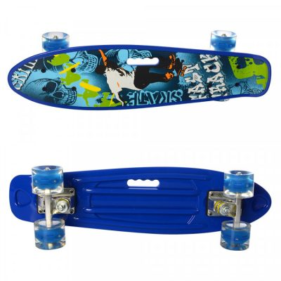 Детский скейт пени борд MAXLEND с ручкой и светящимися колесами (MS 0749-6/синий)