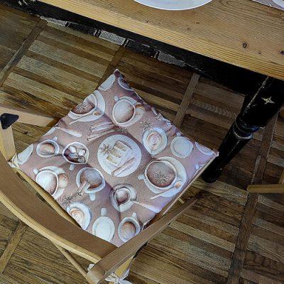 Подушка на стул с завязками «Столовый сервис»