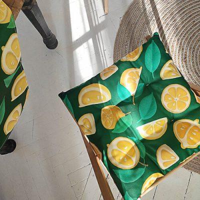 Подушка на стул с завязками «Лимоны»