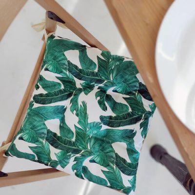 Подушка на стул с завязками «Листья»