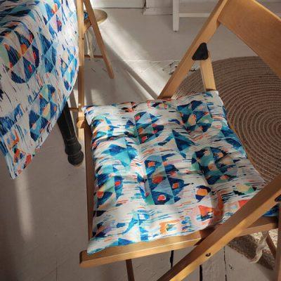 Подушка на стул с завязками «Размытый орнамент»
