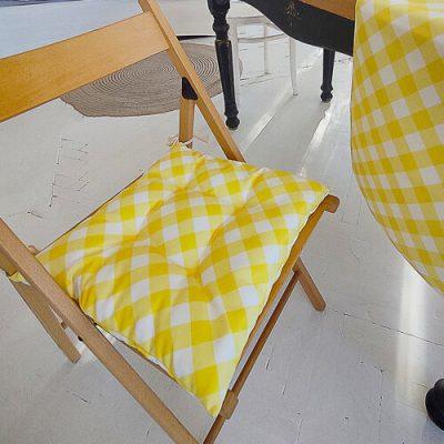 Подушка на стул с завязками «Бело-желтые полосы»
