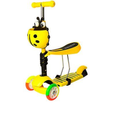 Детский трехколесный самокат-беговел iTrike с багажником (желтый)