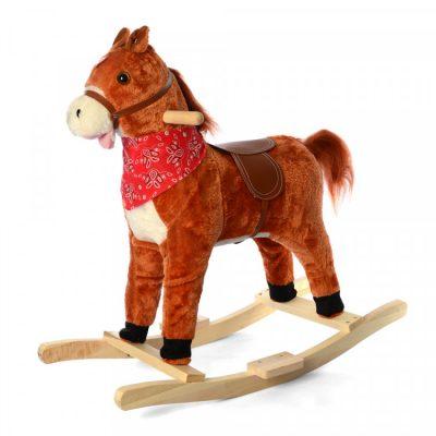Детская-лошадка качалка со звуком «Метр+» (светло-коричневая) (Копировать)