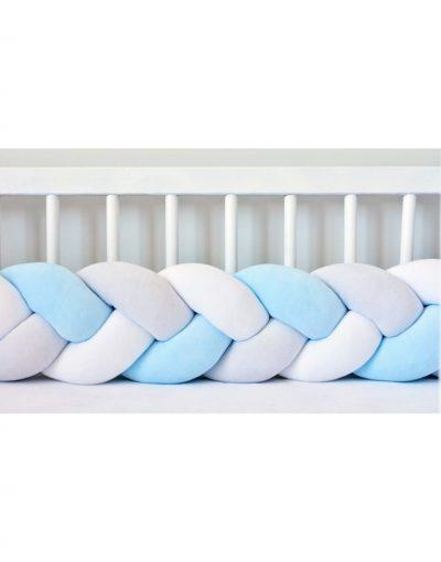 Бортик в кроватку  «Косичка» белый-голубой-пепельный