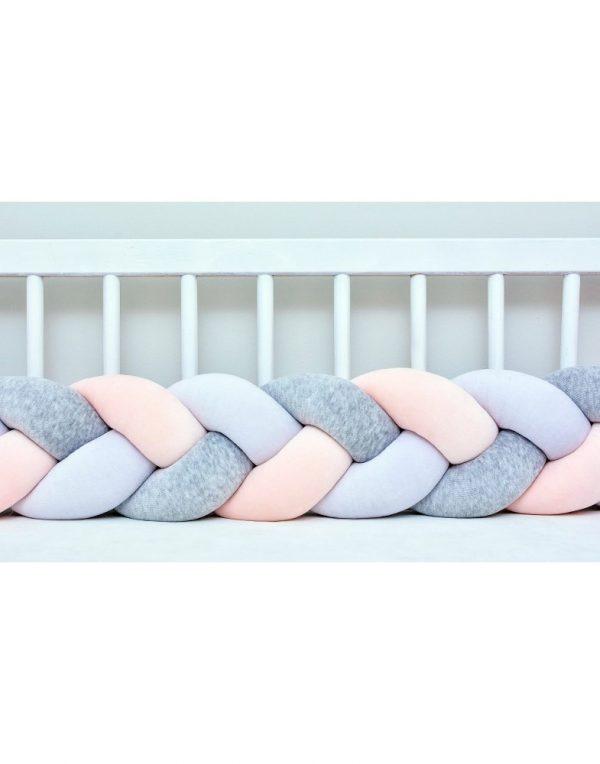 Бортик в кроватку  «Косичка» белый-персиковый-серый