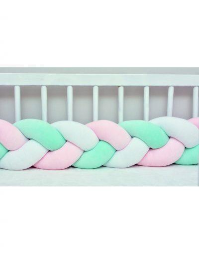 Бортик в кроватку  «Косичка» белый-розовый-мятный