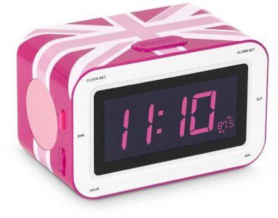 Радиоприемник с будильником «Британский флаг», розовый 16х10 см