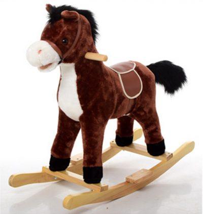 Детская-лошадка качалка со звуком «Метр+» (темно-коричневая)