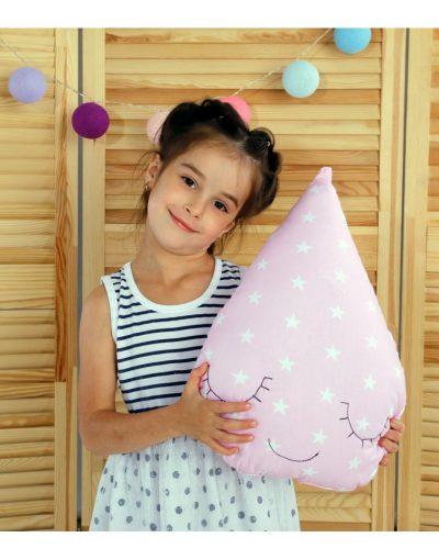 Подушка Хатка «Капля» розовая
