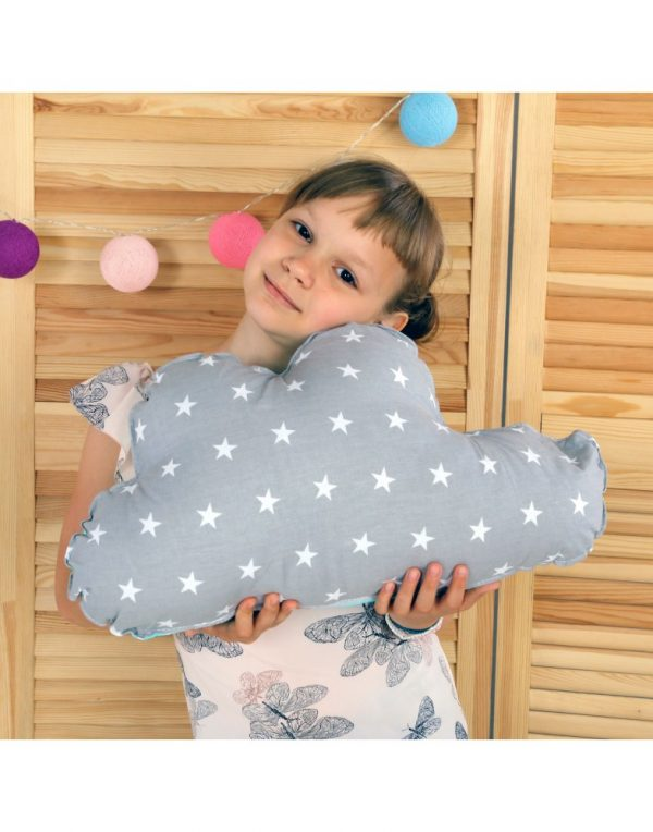 Подушка Хатка «Облако» серое с Мятой