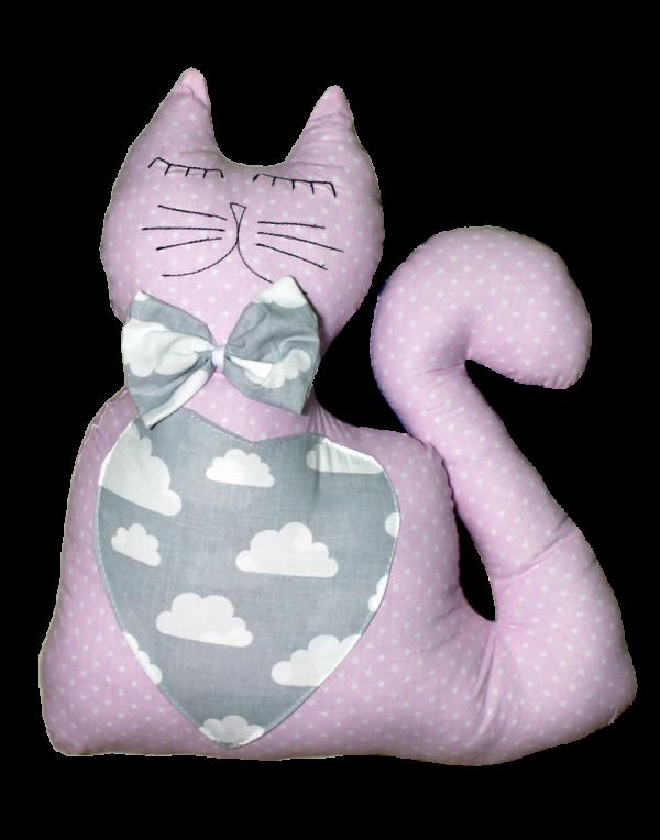 Подушка Хатка «Кот» розовый с серым