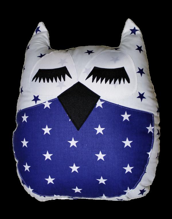 Подушка Хатка «Сова» синяя с белым