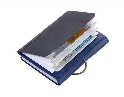 Визитница и блокнот «DIN A7» сине-черный