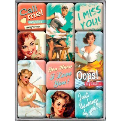 Набор из 9 магнитов «Say It 50's - Nice Slogans» Nostalgic Art (83051)