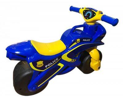 Беговел-мотоцикл Doloni Toys «Полиция» с широкими колесами (желто-синий)