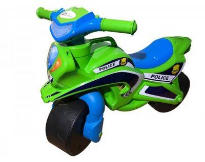 Беговел-мотоцикл Doloni Toys «Полиция» с широкими колесами (зеленый/голубой)