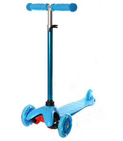 Детский самокат iTrike «Scooter» со светящимися колесами (голубой)