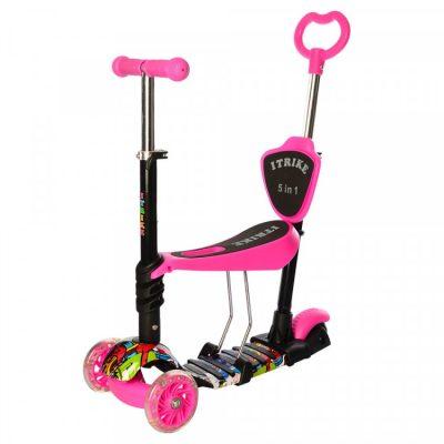 Детский самокат iTrike Maxi 5 в 1 (розовый)