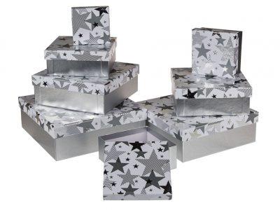 Коробка подарочная серебро «Звезда», 22,5см