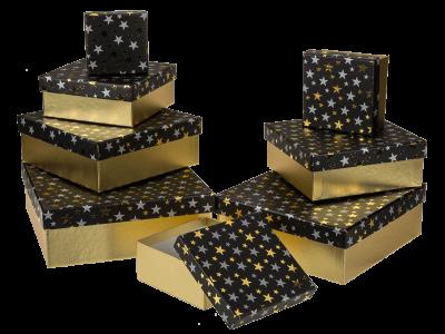 Коробка подарочная черная «Звезды», 22,5 см