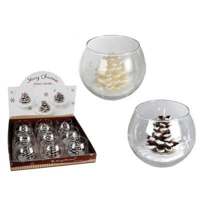 Свеча в стакане «Шишка в снегу»