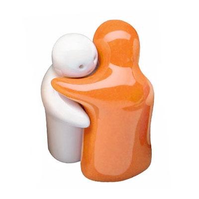 Солонка и перечница «Обнимашки» оранжевая/ белая