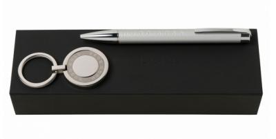 Набор Hugo Boss Chrome шариковая ручка и брелок для ключей