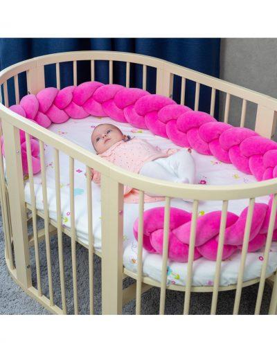 Бортик в кроватку  «Косичка» розовый