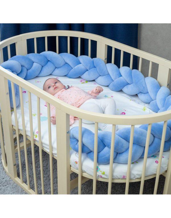 Бортик в кроватку  «Косичка» синий