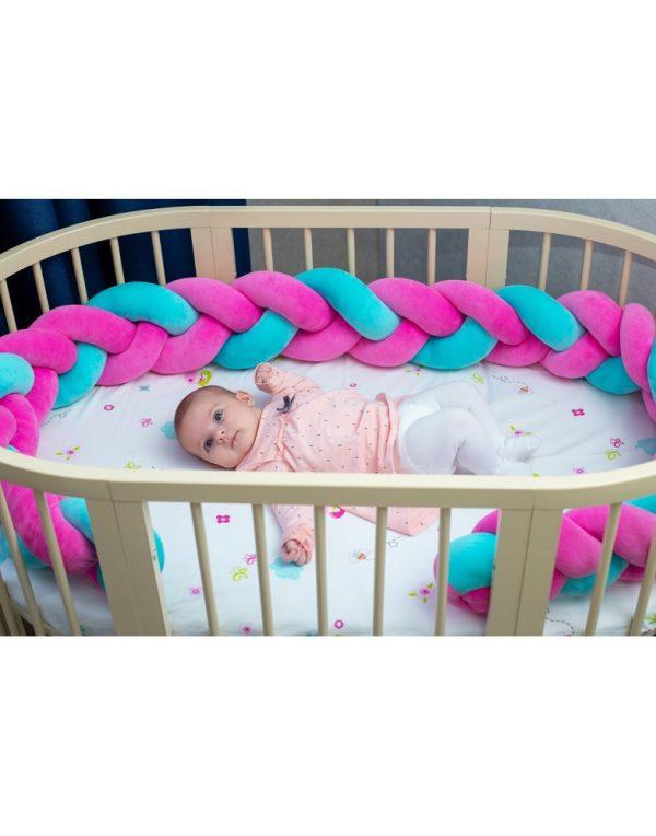 Бортик в кроватку  «Косичка» розово-мятный